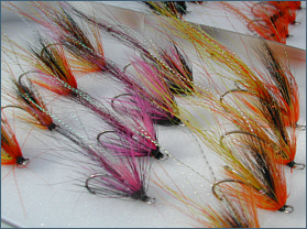 Ally's Shrimp and Cascade salmon fly selection