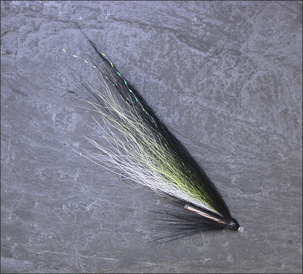 Yellow Blackback salmon tube fly