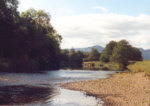 River Earn, Strowan, looking upstream towards the water owned and controlled by Crieff Angling Club - Salmon and sea trout fishing